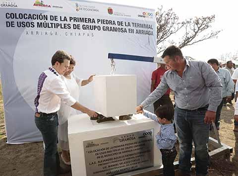 El Mandatario Estatal destacó que es la la segunda terminal de esta importante empresa granelera instalada en Chiapas, y que comercializará aproximadamente 100 mil toneladas de granos y alimentos básicos.