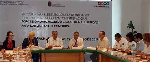 """Realizan Foro de Diálogo """"Acceso a la Justicia y Seguridad para los Migrantes"""" en la Secretaría de la Frontera Sur."""