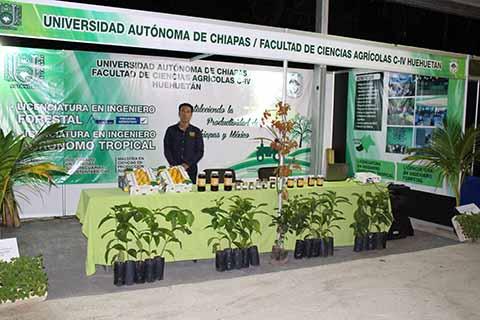 Aroldo Paz, nos mostró el stand de la Facultad de Ciencias Agrícolas Campus IV de la Universidad Autónoma de Chiapas, ubicado en Huehuetán, Chiapas, la cual ofrece 2 carreras: Licenciatura en Ingeniero Forestal y la Licenciatura en Ingeniero Agrónomo Tropical.