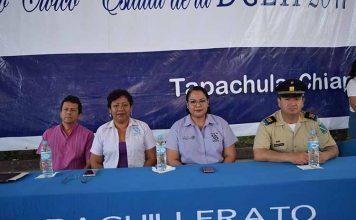 La mesa del presidium fue integrada por Miguel Galindo, representando a la dirección de DGETI Chiapas, María Isabel Martínez, directora del CETIS 137; Erika Santiago, subdirectora CBETIS 88; Cap. Tomás Montoya, representando a la 36 Zona Militar.