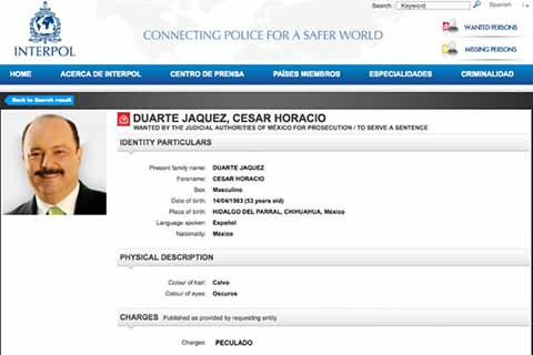 INTERPOL Busca en 190 Países al Ex Gobernador César Duarte
