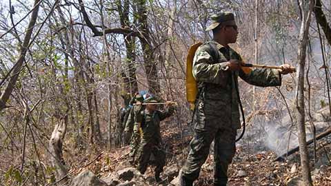 Se Refuerza el Combate del Incendio en Frontera Comalapa