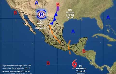 """Remanentes de """"Adrián"""" Causarán Lluvias en México y Centroamérica"""