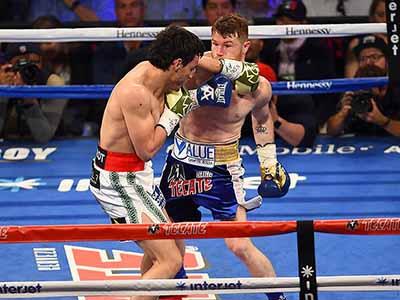 """En una pelea en la que fue muy superior, el """"Canelo"""" Álvarez logró derrotar por decisión unánime a Chávez Jr, quien quedó con los pómulos inflamados por los jabs recibidos por parte del púgil oriundo de Jalisco."""