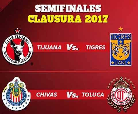 Listas las Semifinales del Torneo Clausura 2017: el Guadalajara se medirá contra el Toluca, mientras que los Xolos disputarán la otra semifinal contra los Tigres.