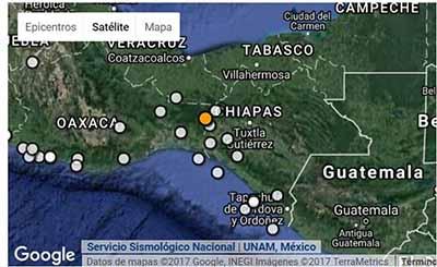 El epicentro se registró a 41 kilómetros al noroeste de Cintalapa