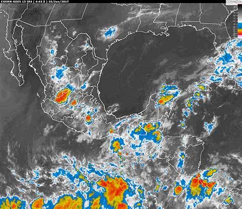 Prevén Tormentas muy Fuertes en Centro y Sureste de México