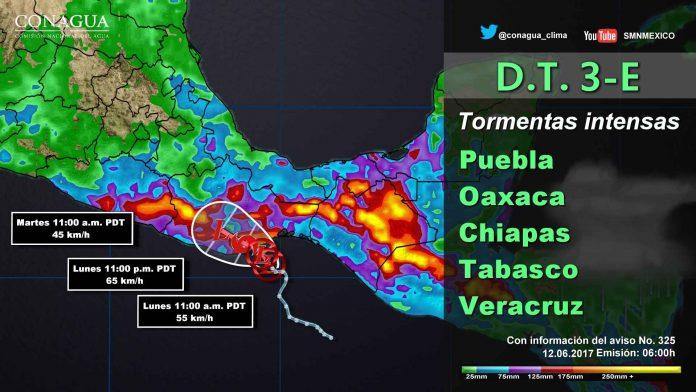 Tormentas Intensas en Guerrero, Oaxaca y Chiapas