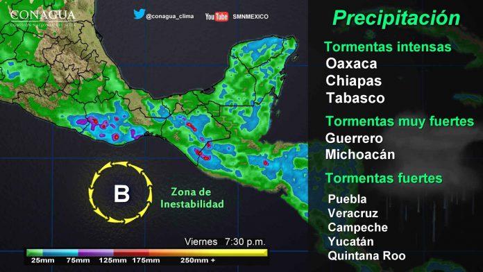 Lluvias Intensas y Granizadas en Centro y Sureste del País