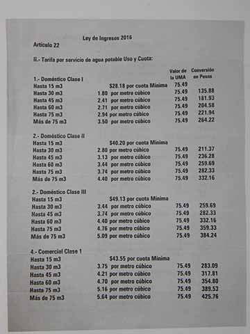 Listado de las tarifas que se deben respetar y que ahora aplican elevados cobros los del COAPATAP.