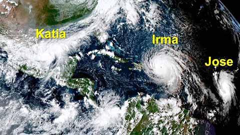 Huracanes Irma, Katia y José Tienen en Alerta a México y USA