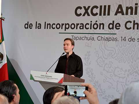 Conmemora Velasco 193 Aniversario de la Federación de Chiapas a México