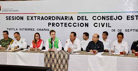 Manuel Velasco y Luis Miranda Encabezan Sesión de Evaluación Tras Sismo en Chiapas