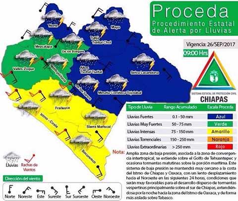 Alerta Amarilla Ante Pronóstico de Lluvias Intensas en Chiapas