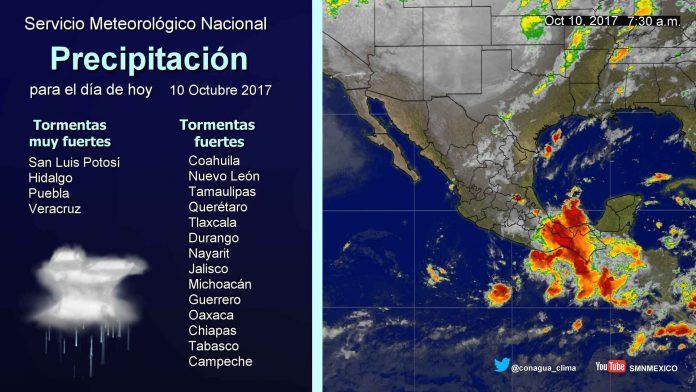 Se Prevén Tormentas muy Fuertes en Tabasco y Chiapas
