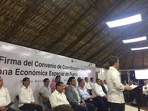 Firman Velasco y Candiani el Convenio de Coordinación Para ZEE de Puerto Chiapas