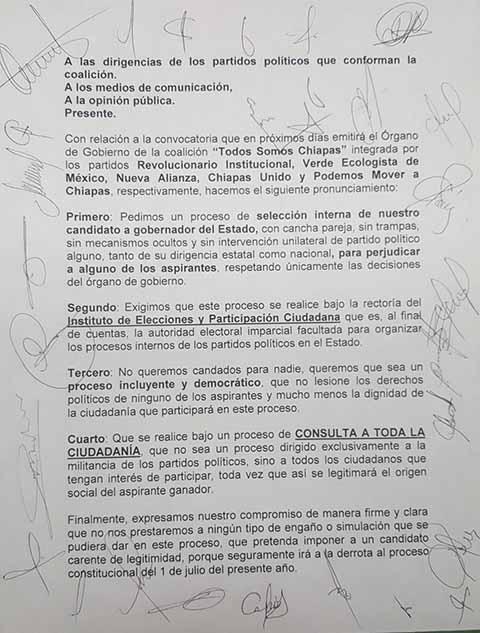 """Exigen """"Cancha Pareja"""" en Elecciones de la Coalición """"Todos Somos Chiapas"""""""