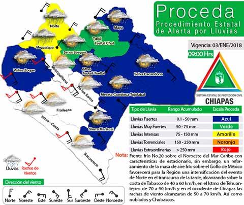 Declaran Alerta Amarilla en Chiapas por Frente Frío