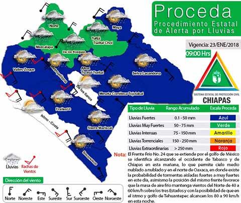 Pronostican Lluvias Fuertes Debido al Frente Frío No. 24