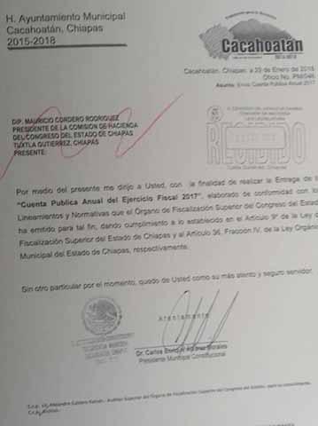 Entrega Cacahoatán su Cuenta Pública Anual 2017