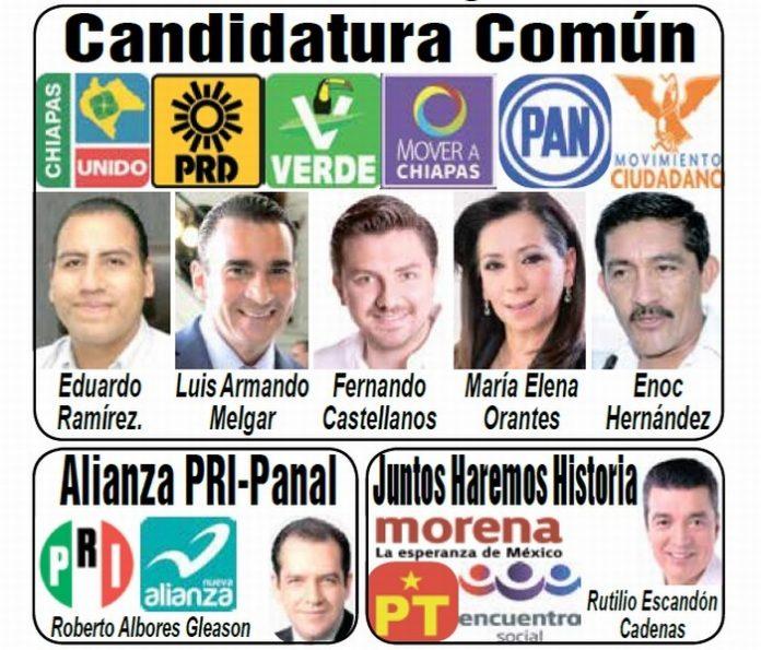 PVEM, PAN, PRD, MC, Chiapas Unidos y Mover a Chiapas, Elegirán Candidato Común a Gobernador