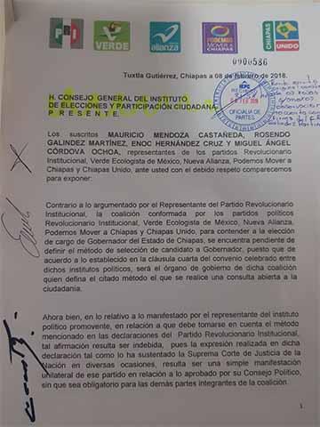 """Presenta Alianza """"Todos Por Chiapas"""" Dos Métodos Para Elegir su Candidato"""