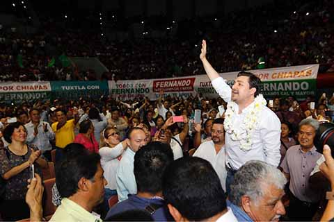 El actual presidente de Tuxtla Gutiérrez y vocero del PVEM en Chiapas, Fernando Castellanos Cal y Mayor, anunció ante miles de simpatizantes, que contenderá en la próxima elección para Gobernador de Chiapas,