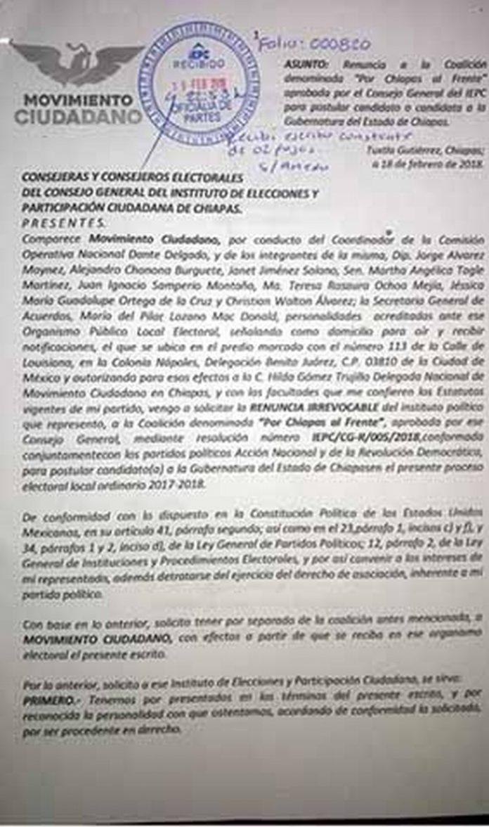 """Rompe Coalición """"Por Chiapas al Frente""""; Seis Partidos Conforman Alianza Común"""