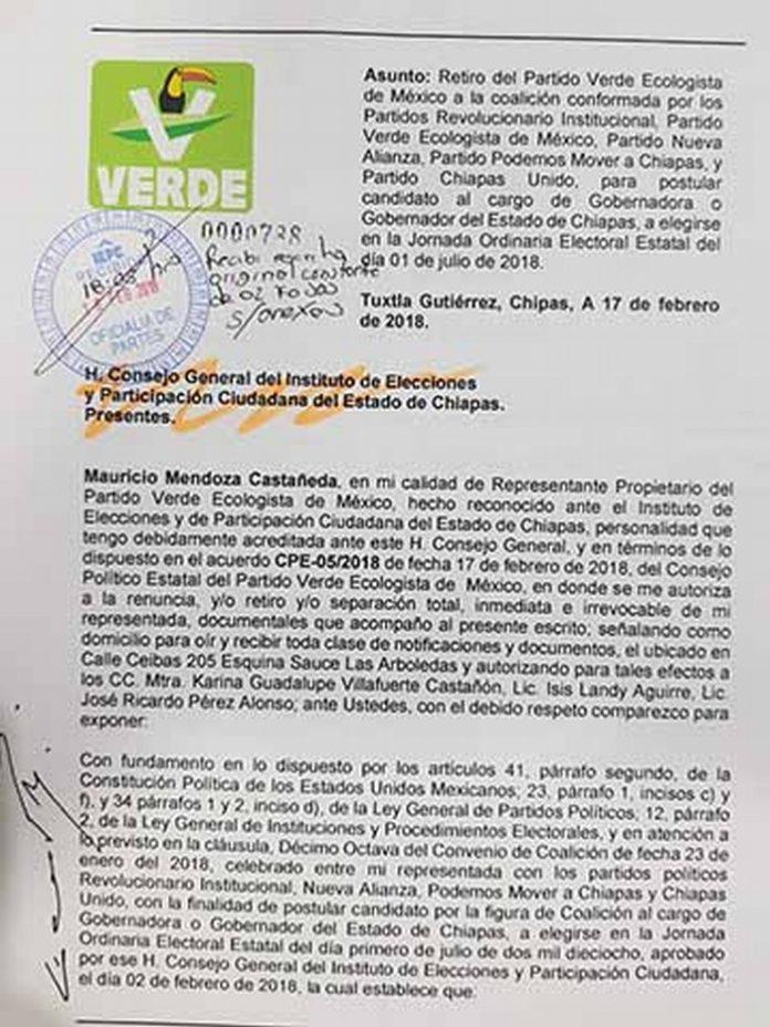 PVEM, Mover a Chiapas y Chiapas Unido Irán Separados del PRI y Nueva Alianza en la Elección Para Gobernador