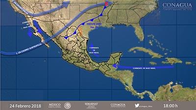 Frente Frío 33 Afectará el Norte y Noreste del País