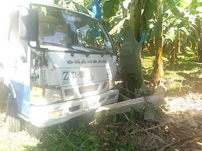Camión Gasero Terminó Entre Matas de Plátano