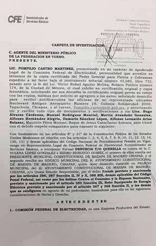 Procede Penalmente la CFE Contra Alcaldes Deudores en Chiapas