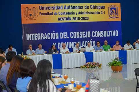 Integra UNACH el Consejo Consultivo y de Vinculación de la Facultad de Contaduría y Administración