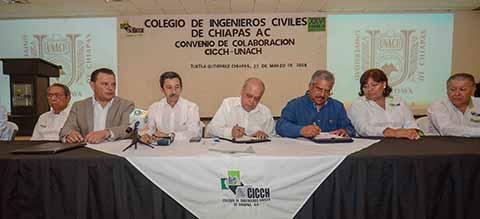 Firman UNACH y Colegio de Ingenieros Civiles de Chiapas convenio de colaboración
