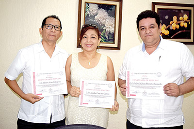 Moisés Arias, Claudia Cancino, Pedro Moreno.