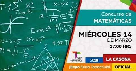 Hoy Concurso de Matemáticas en la Expo Feria Tapachula 2018.