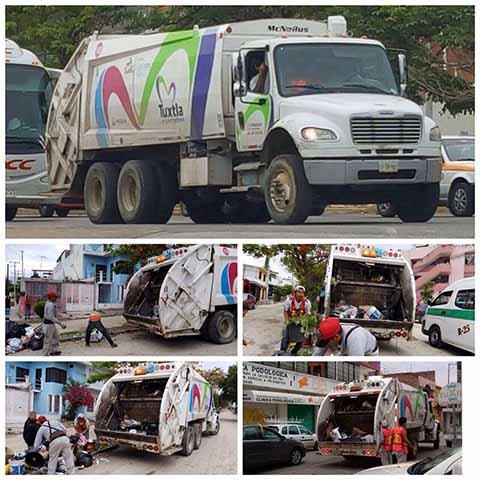 Abarcan 35 rutas de recolección domiciliaria y comercial en todas las colonias de Tuxtla Gutiérrez, mientras que aquí en Tapachula las esquinas de las calles están convertidas en basureros.