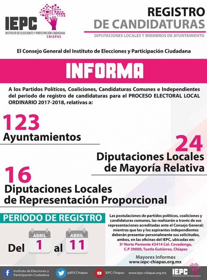 Inicia el Plazo Para Solicitar el Registro de Candidaturas a Diputaciones y Ayuntamientos