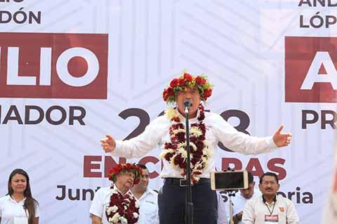 Rutilio Pide Votar por Morena Desde la Plaza de San Cristóbal de Las Casas