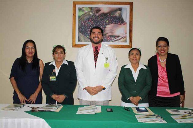 Marina Salguero, Secretaria Tesorera del SNTSS.; Edith Bermúdez, Coordinadora de Enfermería en Atención Médica; Jorge Alegría, Jefe Delegacional de Prestaciones Medicas; Marcia Gómez, Coordinadora Delegacional de Enfermería en Salud; Xochitl Cruz, Secretaria de Acción Femenil del SNTSS.