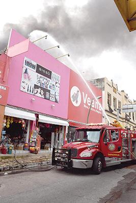 Voraz Incendio en Tiendas del Centro de Tapachula