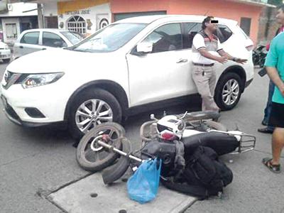 Provocó Accidente a un Motociclista