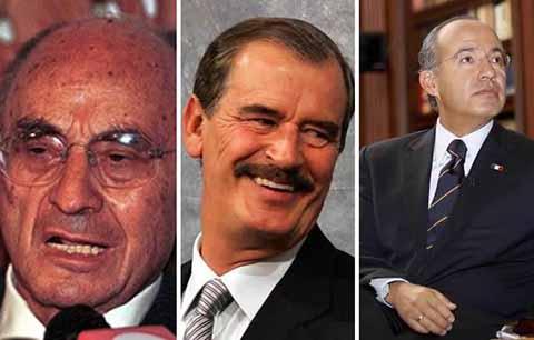 Luis Echeverría, Vicente Fox y Felipe Calderón, perciben entre los tres, 7.3 mdp anuales, aunque Calderón desde el 2017 dona su pensión a una fundación contra el Cáncer, mientras que Fox justifica que dicha prestación evita que los Presidentes roben en sus mandatos.