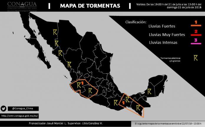 Se Prevén Tormentas Fuertes en Jalisco, Nayarit, Michoacán, Oaxaca, Chiapas y Veracruz,