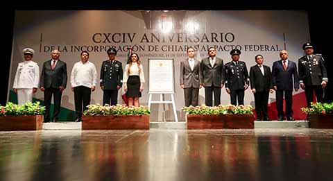 Conmemora Velasco Aniversario de la Federación de Chiapas a México