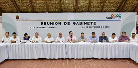 Manuel Velasco Instruye a su Gabinete Concluir administración Trabajando