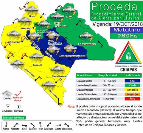 Activan Protocolos de Prevención Ante Alerta Amarilla por Lluvias en Chiapas