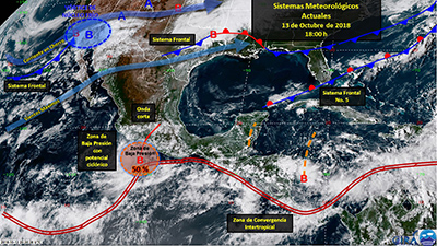 El Servicio Meteorológico Nacional informó que están previstas intensas lluvias en los estados de Michoacán, Guerrero, Oaxaca y Chiapas, debido al Frente Frío No. 5, asociado a una zona de inestabilidad con potencial ciclónico en el sur de Guerrero.