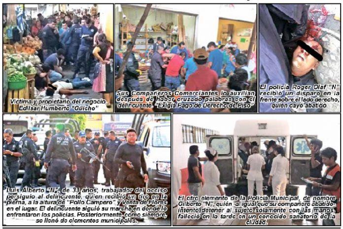 """Pánico Causa Balacera en el Mercado """"San Juan"""", Tres Muertos Entre Ellos dos Policías y un Herido"""