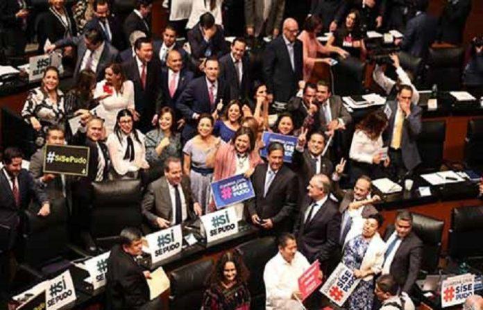 Senadores de todas las bancadas, festejaron ayer la aprobación por unanimidad la creación de la Guardia Nacional.